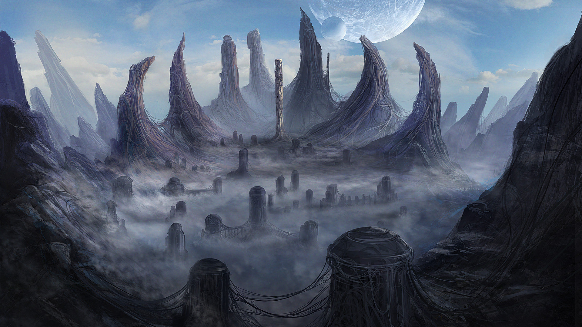 Another World: Alien city mattepainting by Mac Rebisz. Click for source.