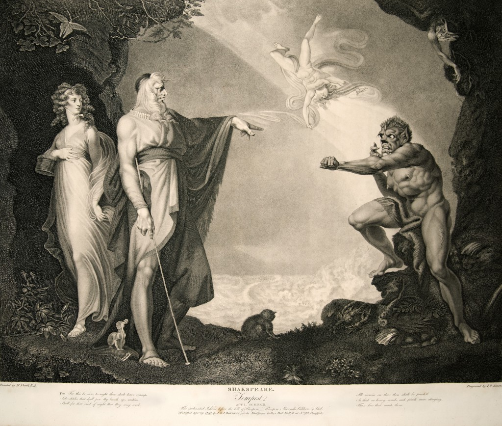 Miranda, Prospero, Ariel, and Caliban in Act I, Scene ii, of The Tempest. This engraving is based on a painting by Henry Fuseli.